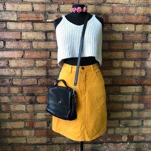 Vtg 90's GUESS Mustard Denim high waisted Skirt